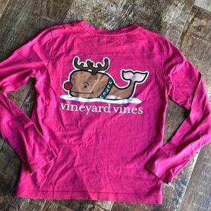 Vineyard Vines long sleeve bright pink Holiday tee